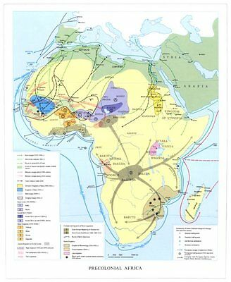 AFRICA. Precolonial Africa 8th-16th centuries 1973 old vintage map plan chart
