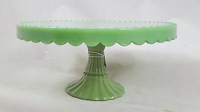 """Milk Glass 8"""" Round Cake Pedestal Plate  New Vintage-look and design Faux Jade"""