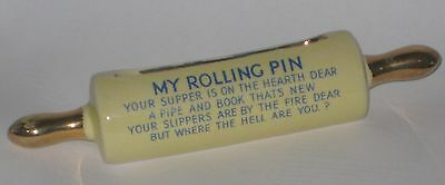 HUMOROUS Verse RECIPE Card HOLDER w/MY ROLLING PIN Vintage POTTERY