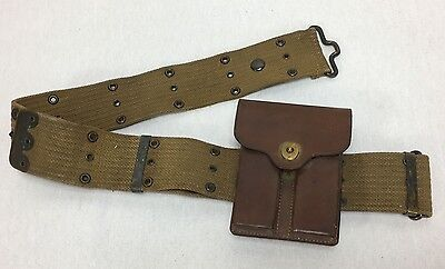 Vintage US Army Ammo Belt With Leather Pouch