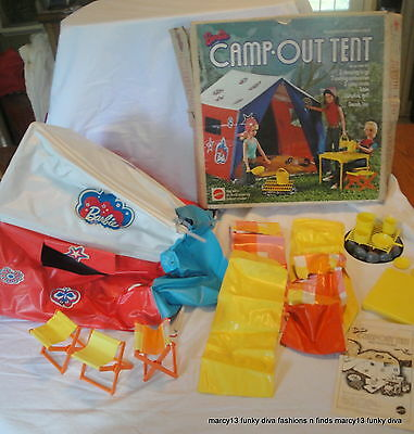 1972 IOB Barbie Camp Out Tent Needs TLC w Accessories & Extra Sleeping Bags