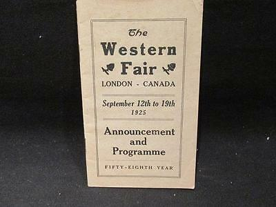 Western Fair London Ontario 1925 Announcement and Programme 58th Year