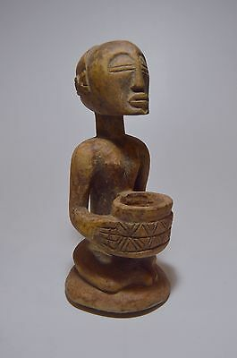 Old Luba Mboko Divination Bowl Bearer sculpture from the Congo, Africa