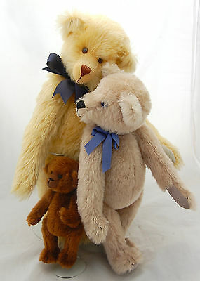 Original Mohair Teddy Bear Artist Suzanne DePee 3pc Jointed Glass Eyes Darling
