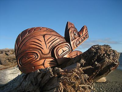 Northwest Coast First Nations cedar Art carving: WOLF by Alfred Robertson