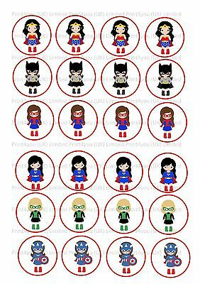 24 Edible cake toppers wafer rice paper Girls super hero ND2 Wonder Super woman