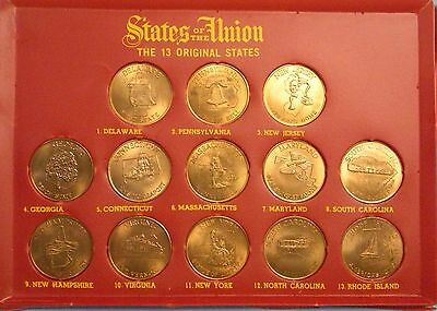 Coin Set . 13 Original State of the Union . 1969 . Shell . Solid Bronze