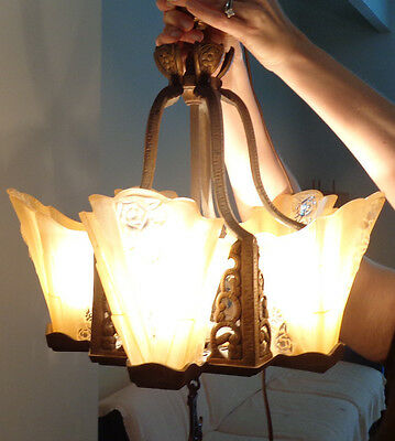 Slip Shade Lamp Chandelier 1910