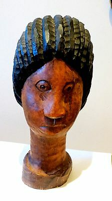 Rare Vintage Walter Morrison Hand Carved Wood Jamaican Head Bust Signed Folk Art
