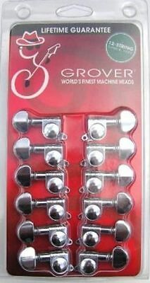 GROVER 12 String CHROME Guitar Mini Rotomatic Machine Heads Tuner pegs 205C12