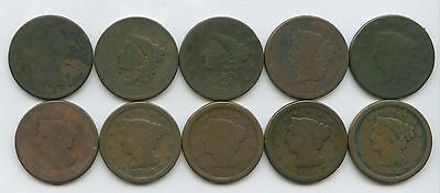 Large Cents Lot of 10 Coins 1803-1853 All Coins Are Well Worn