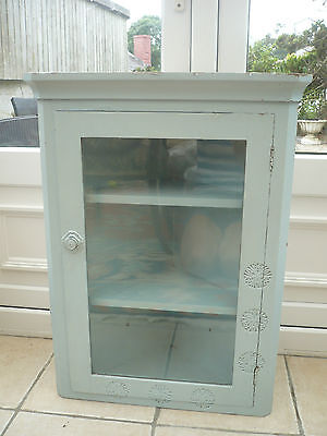 Antique wooden corner cabinet painted in Farrow and Ball duck egg ornate carving