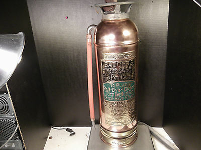 Atq Badger Copper & Brass Fire Extinguisher Empty Can No Chemical Hand Polished