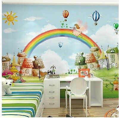 * Modern Simple Style Rainbow Pattern TV Background Children's Room WallPaper