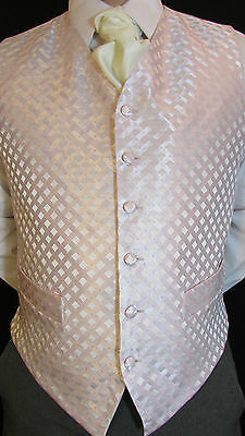 W002 Mens Pink Weave Patterned Wedding Suit Waistcoat - Various Sizes Available
