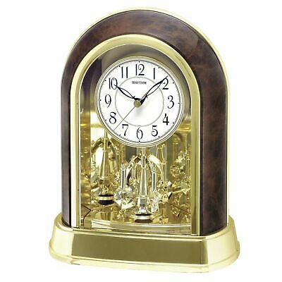 Rhythm Gold & Wood Effect Mantel Clock w Swarovski Pendulum