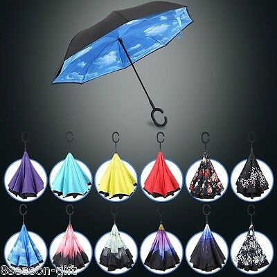 NEW Creative Upside Reverse Double Layer Umbrella Folding Inverted Windproof Car