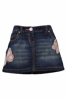 Bnwt Next Butterfly Embellished Denim Skirt Size 4-5 Years