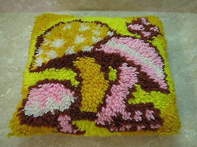COMPLETED Finished LATCH HOOK RUG SHAM Vtg MUSHROOM THROW PILLOW Hippie ACCENT
