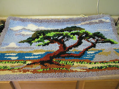 COMPLETED Finished LATCH HOOK RUG Vtg JAPANESE TREE ART Hippie WALL HANGING