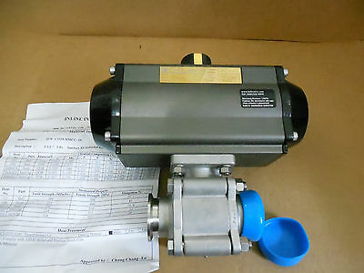 Inline 1 1/2 inch Tri Clamp Stainless Steeel Ball Valve with actuator (new )