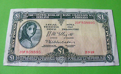 Crisp 1959 Irish Lady Lavery One Pound Note Sterling Issue - Excellent Condition