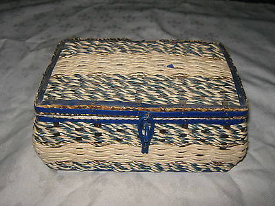 Vintage 1960's Blue & Cream Sewing Basket Woven Twine Sewing Box