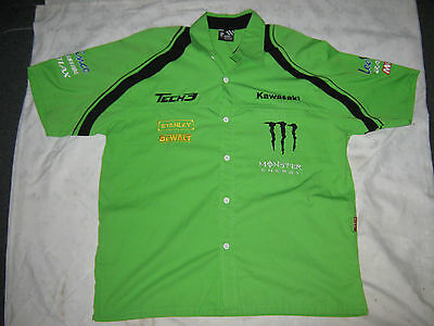 A Rare Fully Embroided Moto GP Tech 3 Kawasaki Team XL Dress Shirt