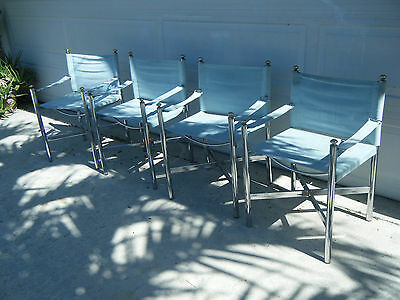 Set Of 4 Pace Chrome Director Chairs Light Blue Suede