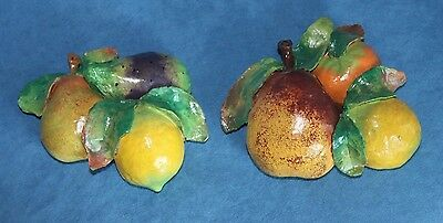 Wonderful Pair of Vintage French Faience Or Italian Majolica Art Pottery Fruit