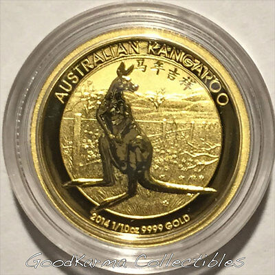 *2014 Kangaroo Chinese Privy 1/10oz Gold Coin Perth Australia $15-Only 3,591*
