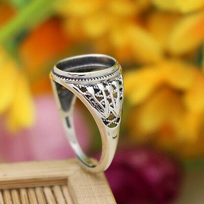 9x12mm Oval Cabochon Semi Mount Engagement Wedding Ring 925 Sterling Silver