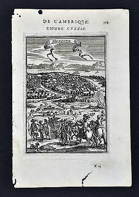 1685 Mallet Print - Mexico City - Bird's Eye View Map Plan Lake Texcoco Spanish