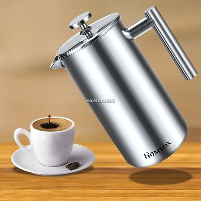 1L Stainless Steel Cafetiere French Filter Coffee Press Plunger Coffee Maker N4
