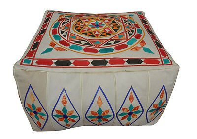 Handcrafted Moroccan Leather Square Pouf Pouffe Ottoman Hassock Footstool
