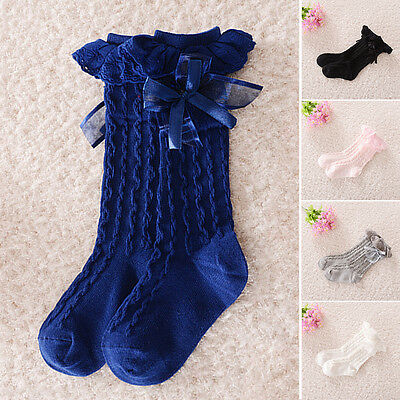 Toddler Baby Girls Lace Bow Frilly Knee High Socks For 9 Months to 4 Years