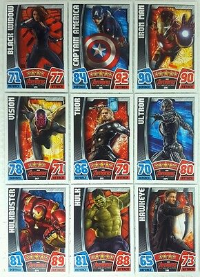 MARVEL HERO ATTAX Series 4  2015 AVENGERS MOVIE CARD SET of 32 Topps  UK