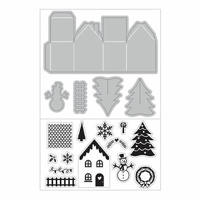 Art C Stamp & Cut - Clear Stamps & Matching Die Cuts - Christmas 3D House & Tree