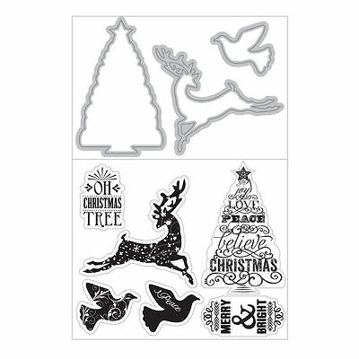 Art C Stamp & Cut - Clear Stamps & Matching Die Cuts - Christmas Deer, Tree Dove