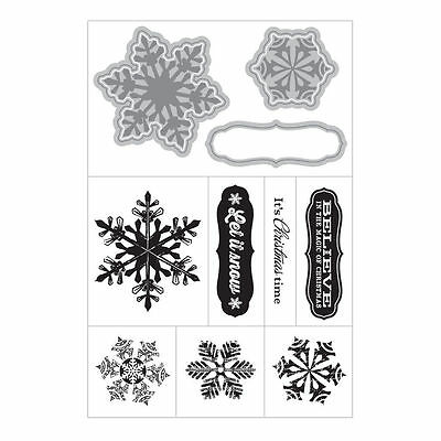 Art C Stamp & Cut - Clear Stamps with Matching Die Cuts - Snowflakes - Christmas