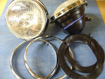 New Cobra Headlamps Pair Halogen H4 With Rims And Gaskets European Usa