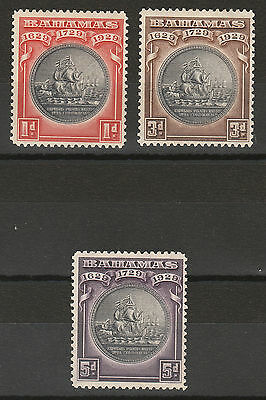 Bahamas 1930 Tercentenary Ship 1D 3D And 5D