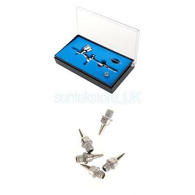 0.2mm 9cc Dual Act Gravity Feed Airbrush Kit + 5Pcs 0.2mm Nozzle Replacement