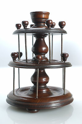Fine Antique Victorian Turned Mahogany Treen Cotton Reel Holder Stand