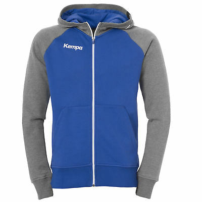Kempa Fly High Kapuzenjacke Handball royal/grau melange Hoody Zipper hooded