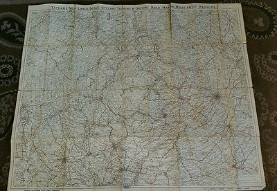 c1900 TATHAMS Cycling Touring Driving ROAD MAP Sixty Mile Keighley CLOTH COLOUR