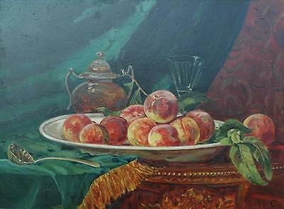 Antique Large Oil on Milk Glass Still Life of Peaches in Ornate Frame 18 x 24