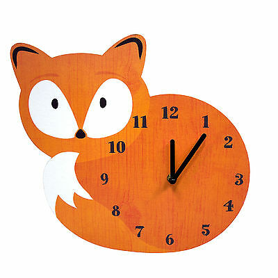 Childrens Woodland Fox Shaped Wall Clock - Battery Operated – MDF Wood