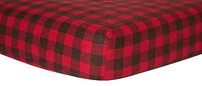 Trend Lab Crib Sheet - Brown And Red Check Print Flannel
