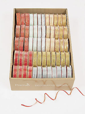 3 x Sparkly finish Christmas fabric ribbon 9 yards silver gold red